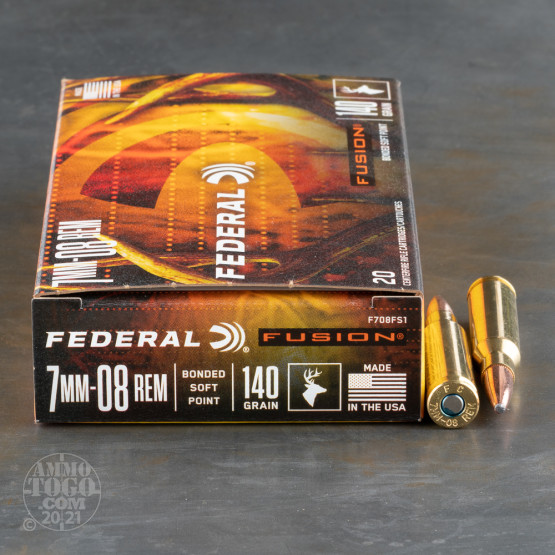 20rds – 7mm-08 Rem Federal Fusion 140gr. Fusion SP Ammo