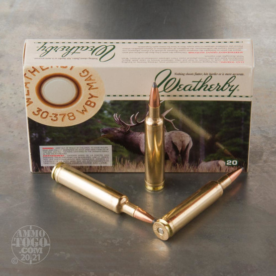 20rds - 30-378 Weatherby Mag. 200gr. Nosler Partition Ammo