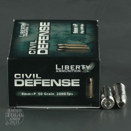 20rds - 9mm Liberty Civil Defense Ammunition 50gr. SCHP +P Ammo