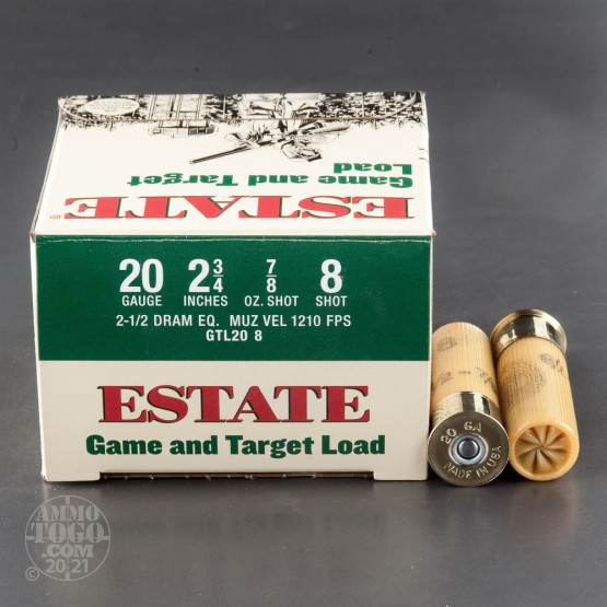 "25rds - 20 Gauge Estate Game and Target 2 3/4"" 2 1/2 Dram 7/8oz. #8 Shot Ammo"