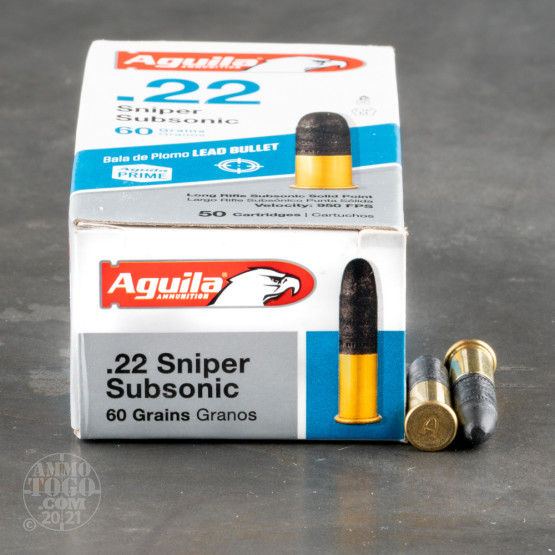 50rds - 22LR Aguila Sniper Sub-Sonic 60gr. Solid Point Ammo