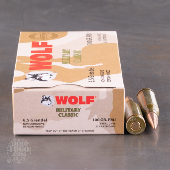 500rds – 6.5 Grendel Wolf Military Classic 100gr. FMJ Ammo