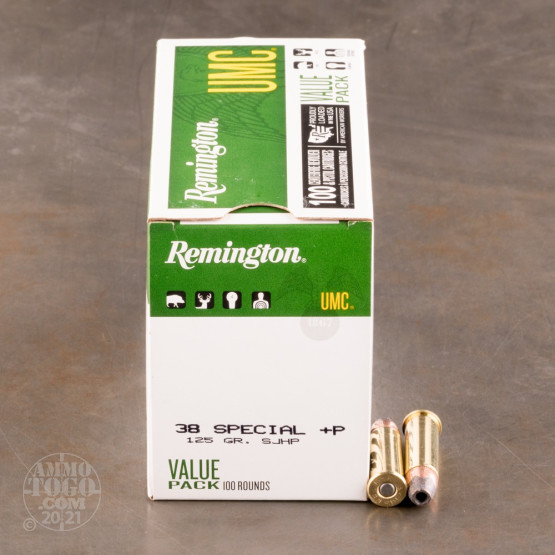 100rds - 38 Special Remington UMC 125gr. +P HP VP Ammo