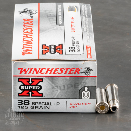 50rds - 38 Special Winchester Silvertip 125gr. +P JHP Ammo