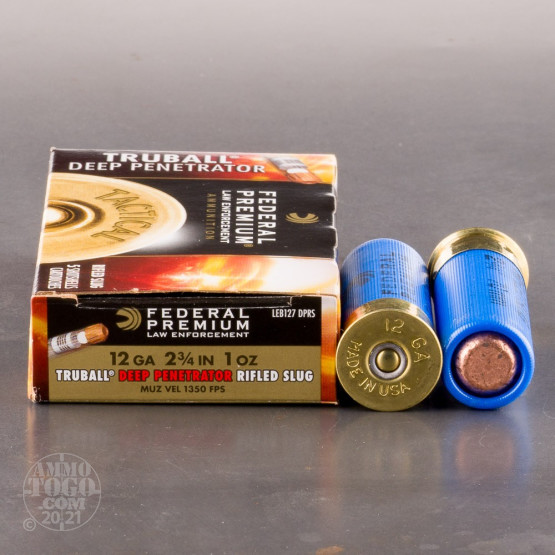 "250rds - 12 Gauge Federal LE TruBall Deep Penetrator 2-3/4"" 1oz. Rifled Slug"