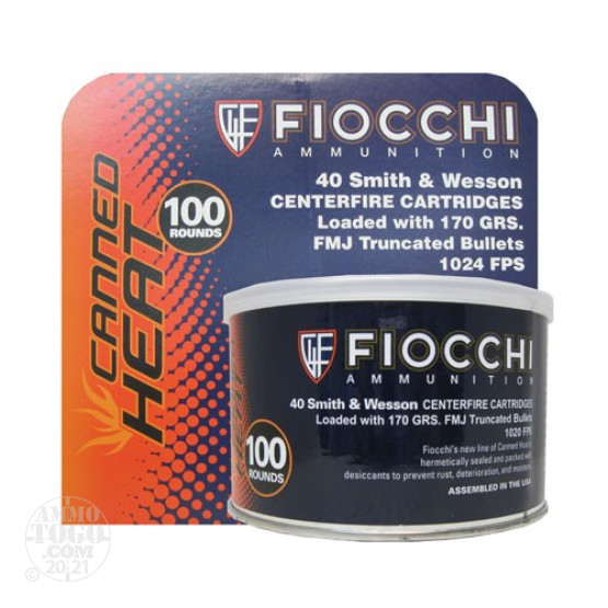 100rds - 40 S&W Fiocchi Canned Heat 170gr. FMJ Truncated Ammo