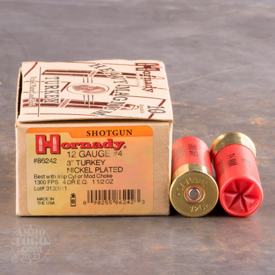 "10rds - 12 Gauge Hornady Heavy Magnum 3"" 1 1/2oz. #4 Turkey Load Ammo"