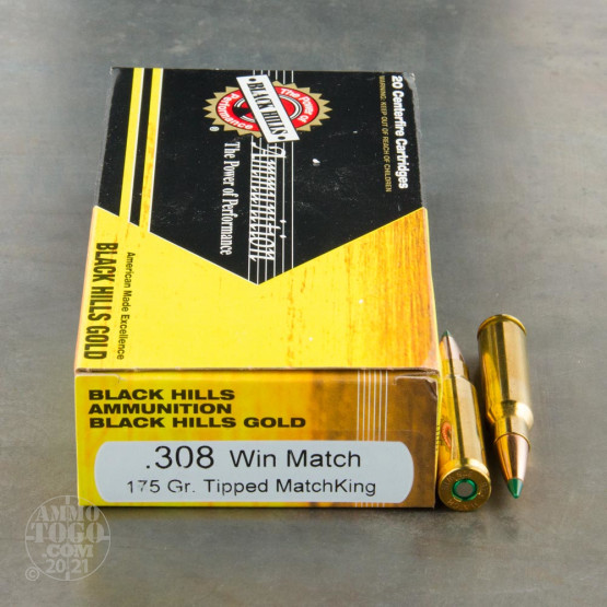 20rds - 308 Win Black Hills Gold 175gr. Tipped Matchking Polymer Tip Ammo
