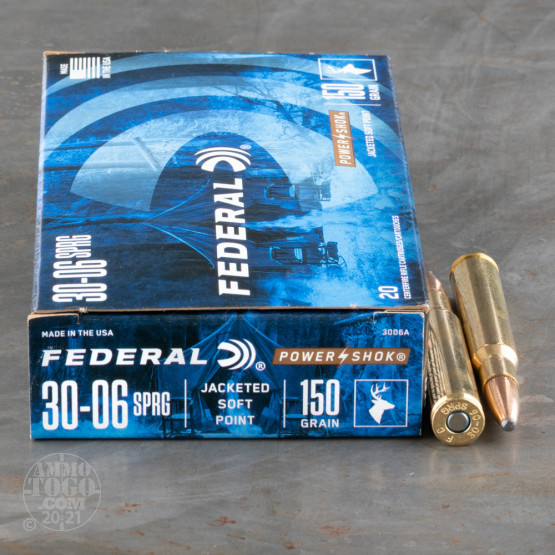 20rds - 30-06 Federal Power-Shok 150gr. SP Ammo