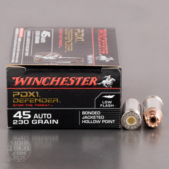 200rds – 45 ACP Winchester Defender 230gr. PDX1 Bonded JHP Ammo