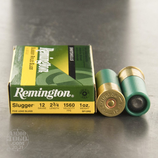 "5rds - 12 Gauge Remington Slugger 2 3/4"" 1oz. Rifled Slug Ammo"