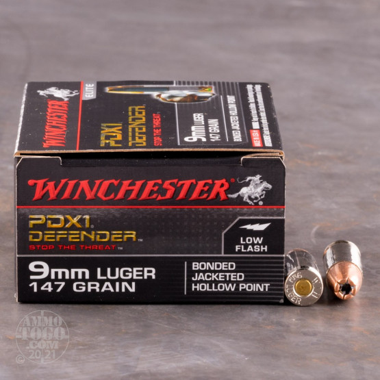 20rds – 9mm Winchester Defender 147gr. PDX1 Bonded JHP Ammo