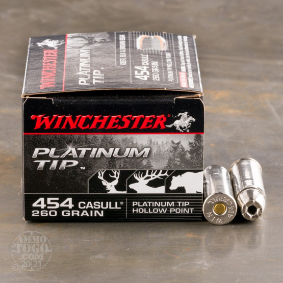 20rds - 454 Casull Winchester 260gr. Platinum Tip Hollow Point Ammo