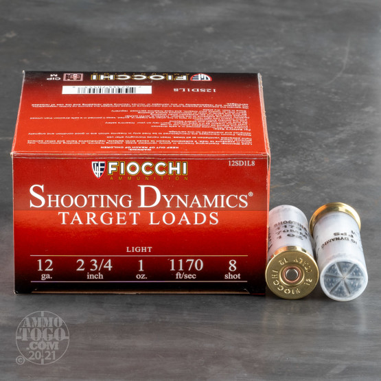 "250rds - 12 Gauge Fiocchi Target Shooting Dynamics 2 3/4"" 1oz. #8 Shot Ammo"