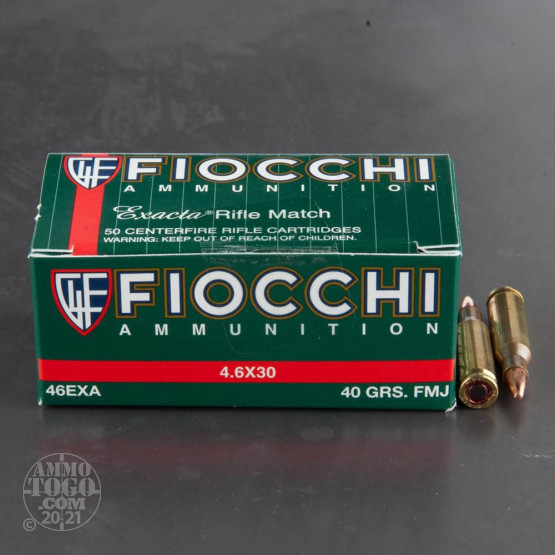 50rds - 4.6x30mm HK Fiocchi 40gr. FMJ Ammo
