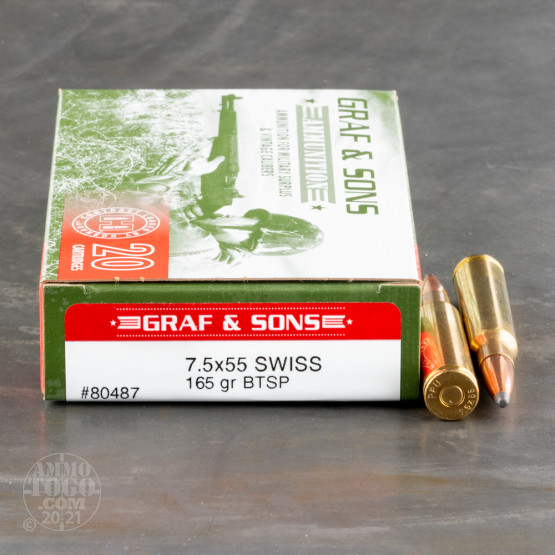 20rds - 7.5X55 Graff & Sons (Loaded by Hornady) 165gr. BT Soft Point Ammo