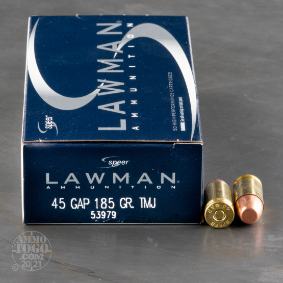50rds - 45 GAP Speer Lawman 185gr. TMJ Ammo