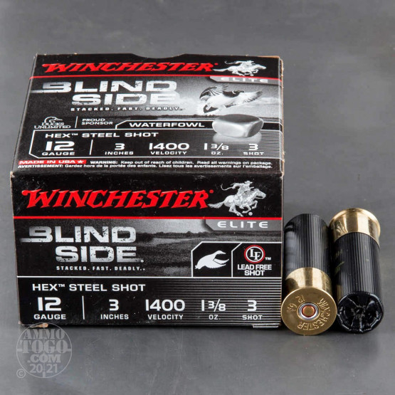 "250rds - 12 Ga. Winchester Elite Blind Side 3"" 1 3/8oz #3 Hex Steel Shot"