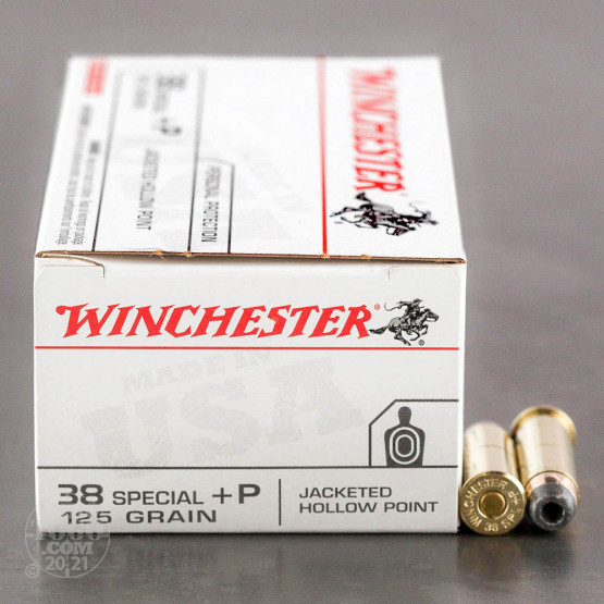 50rds - 38 Special Winchester USA 125gr. +P Jacketed Hollow Point Ammo