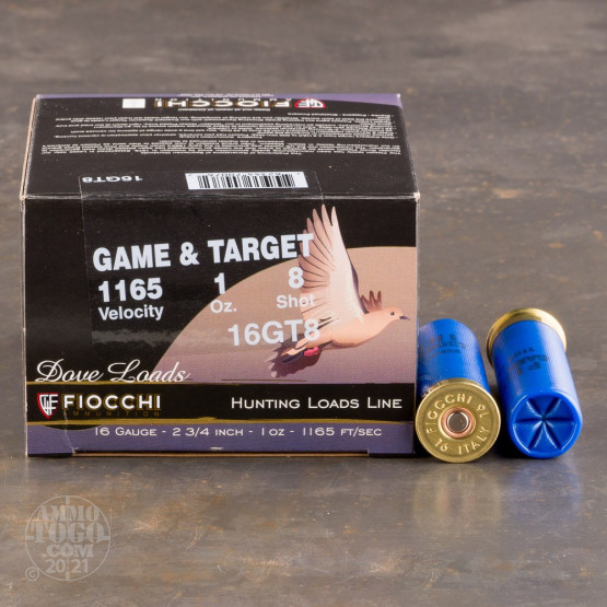 "250rds - 16 Gauge Fiocchi Game and Target 2-3/4"" 1oz. #8 Shot Ammo"