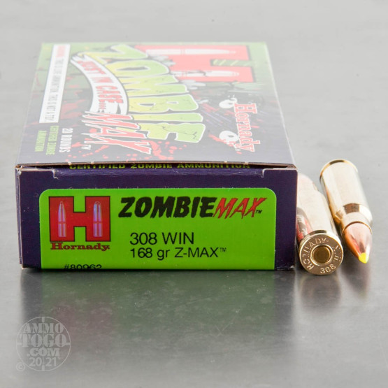 20rds - 308 Win. Hornady Zombie Max 168gr. Z-MAX Ammo
