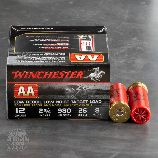 """250rds – 12 Gauge Winchester AA Low Recoil Target 2-3/4"""" 7/8 oz. #8 Shot Ammo"""