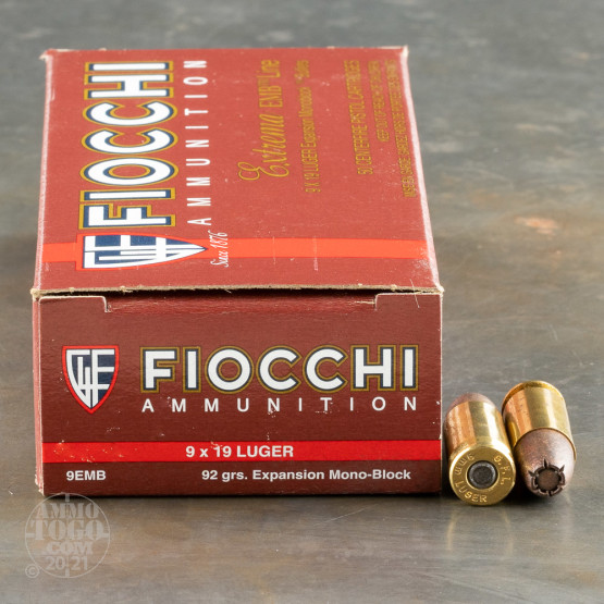 50rds - 9mm Fiocchi Expansion Mono-Block 92gr. Self Defense Ammo