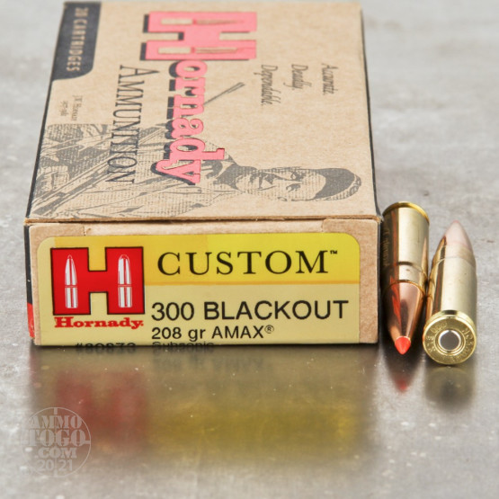 20rds - 300 AAC BLACKOUT Hornady Subsonic 208gr. A-Max Polymer Tip Ammo