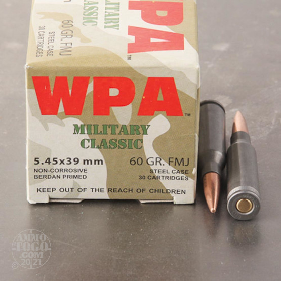 30rds - 5.45x39 WPA Military Classic 60gr. FMJ Ammo