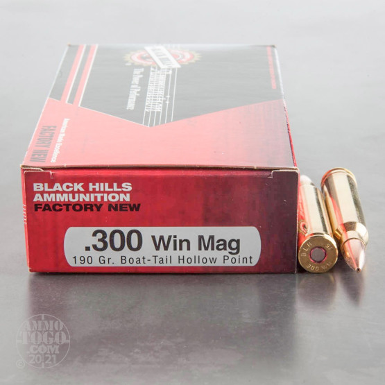 20rds - 300 Win Mag Black Hills 190gr. Match Boat-Tail Hollow Point Ammo