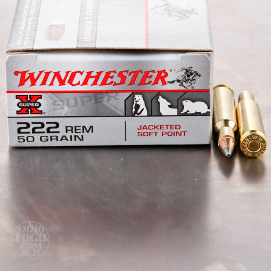 20rds - 222 Rem. Winchester Super-X 50gr. Jacketed Soft Point Ammo