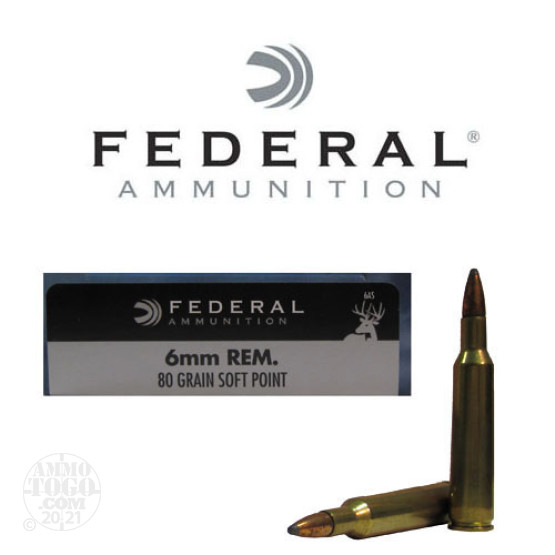 20rds - 6mm Rem. Federal Power-Shok 80gr. Soft Point Ammo