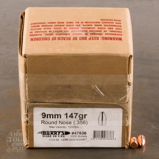 """1000pcs - 9mm .356"""" Dia Berry's 147gr. Plated RN Bullets"""