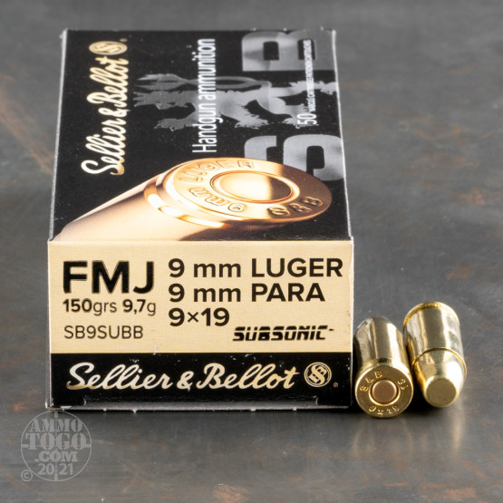 50rds – 9mm Sellier & Bellot Subsonic 150gr. FMJ Ammo