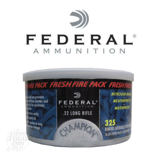 325rds - 22LR Federal Champion 36gr. Copper Plated Hollow Point Ammo