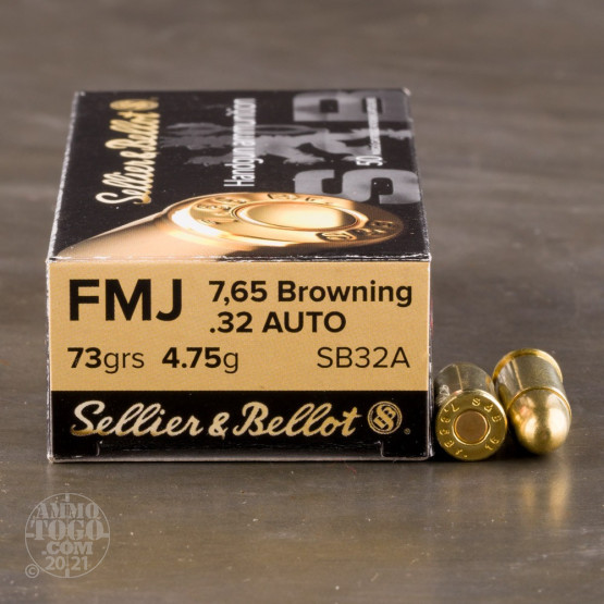 50rds - 32 Auto Sellier & Bellot 73gr. FMJ Ammo