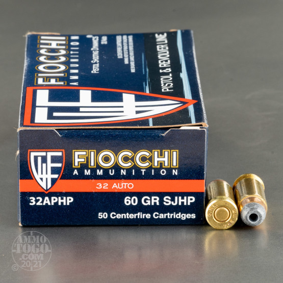 50rds - 32 Auto Fiocchi 60gr. Semi Jacketed Hollow Point Ammo
