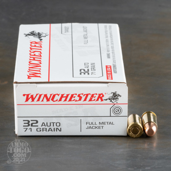 50rds - 32 Auto Winchester USA 71gr. FMJ Ammo