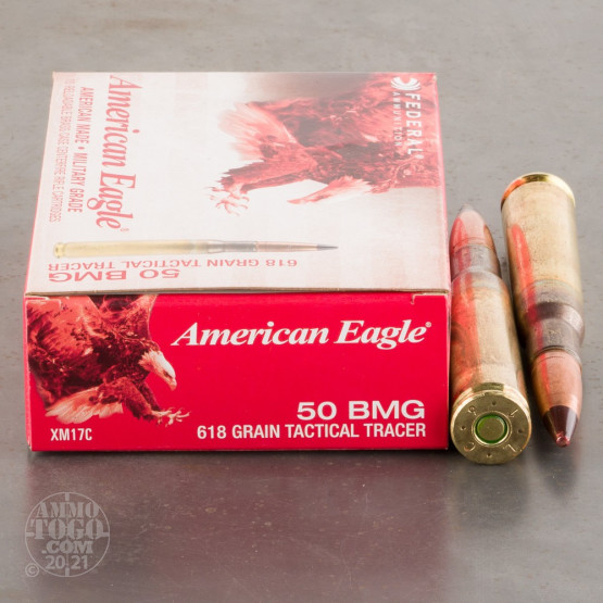 10rds - 50 BMG Federal American Eagle XM17C 618gr. Tactical Red Tracer Ammo