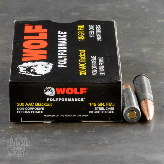 20rds – 300 AAC Blackout Wolf 145gr. FMJ Ammo