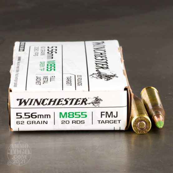 20rds – 5.56x45 Winchester 62gr. FMJ M855 Ammo