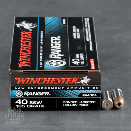 50rds - 40 S&W Winchester Ranger Bonded 165gr. JHP Ammo - Law Enforcement Trade-In