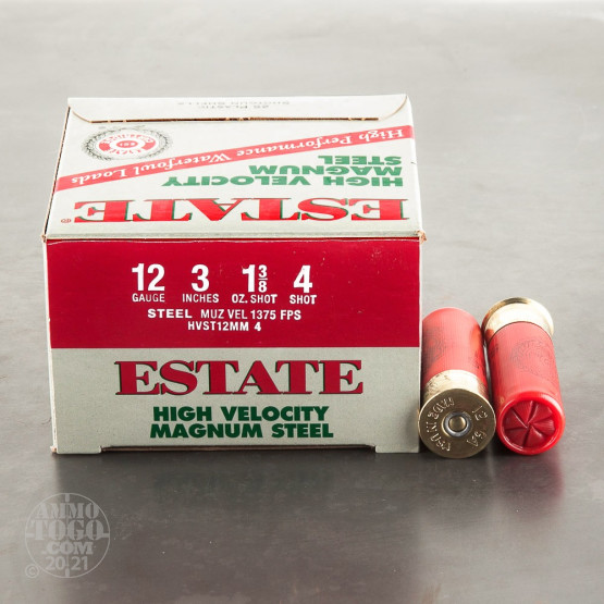 "25rds – 12 Gauge Estate High Velocity 3"" 1-3/8oz. #4 Steel Shot Ammo"