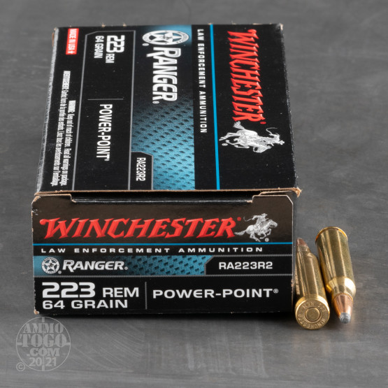 20rds - 223 LE Winchester Ranger 64gr. Power Point Ammo