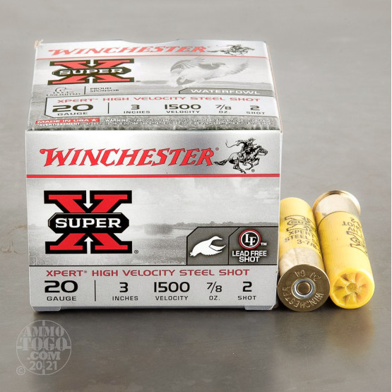 "25rds - 20 Gauge Winchester XPERT Hi-Velocity 3"" 7/8oz. #2 Steel Ammo"