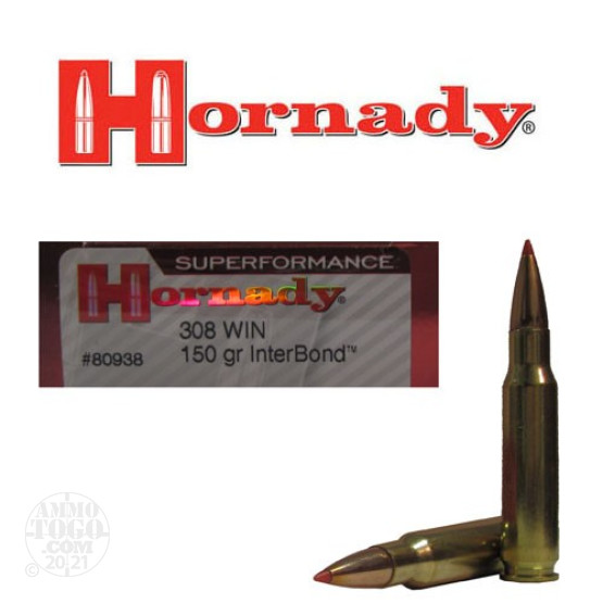 20rds - 308 Win. Hornady Superformance 150gr. InterBond Ammo