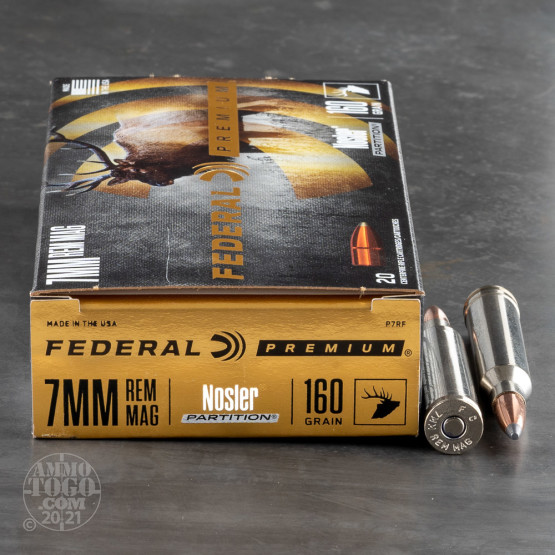 20rds - 7mm Rem Mag Federal Vital-Shok 160gr. Nosler Partition SP Ammo