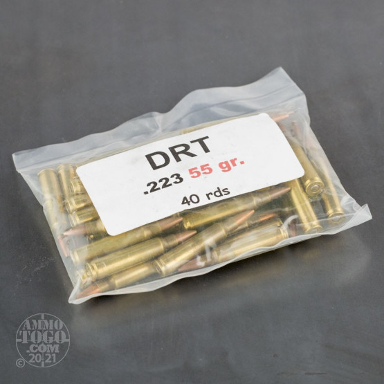 200rds - 223 DRT 55gr HP LF Fragmenting Once Fired Brass Ammo