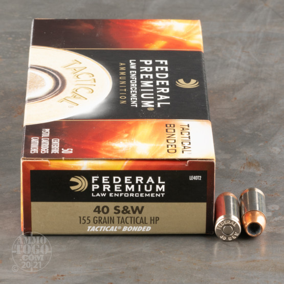 50rds - 40 S&W Federal LE Tactical Bonded 155gr. HP Ammo