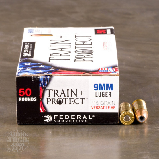 50rds - 9mm Federal Train + Protect 115gr. VHP Ammo
